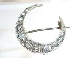 Antique Victorian Sterling Silver Diamond Paste Crescent Moon Brooch
