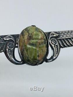 Antique Victorian Sterling Silver Egyptian Revival Scarab Wings Pin