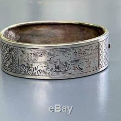 Antique Victorian Sterling Silver Engraved Scenic view Hinged Bangle