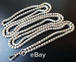 Antique Victorian Sterling Silver Fancy Link Guard Muff Chain Necklace