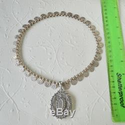 Antique Victorian Sterling Silver Flower Book Chain Necklace Locket Pendant Coin