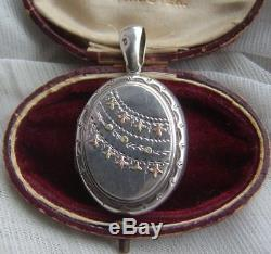 Antique Victorian Sterling Silver & Gold Locket H/M Birm 1883 Aesthetic Period