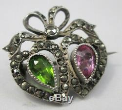 Antique Victorian Sterling Silver Green Purple Marcasite Bow Sweet Heart Brooch
