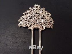 Antique Victorian Sterling Silver Hair Comb 21.8g Silver Marked RS & Sterling