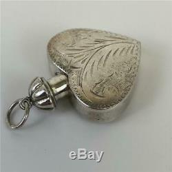 Antique Victorian Sterling Silver Heart Snuff Bottle Tear Catcher Etched Pendant