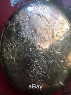 Antique Victorian Sterling Silver Hip Flask 262 Grams