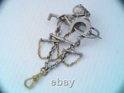 Antique Victorian Sterling Silver Horse Racing Pocket Watch Fob Chain Equestrian