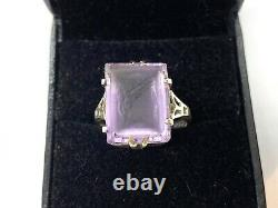Antique Victorian Sterling Silver Intaglio Carved Amethyst Solitaire Ring Size P