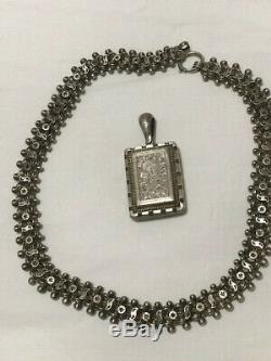 Antique Victorian Sterling Silver Intricate Book Chain Necklace and Locket
