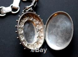 Antique Victorian Sterling Silver Locket & Book Chain Necklace
