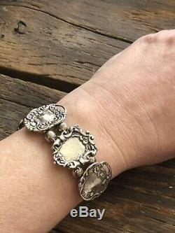 Antique Victorian Sterling Silver Luggage Tag Charm Bracelet Vintage Foree