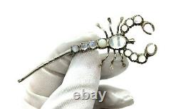 Antique Victorian Sterling Silver Moonstone & Opal Scorpion Brooch