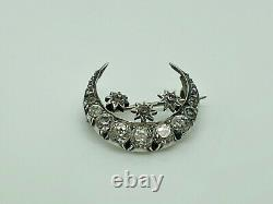Antique Victorian Sterling Silver Paste Crescent Moon & Triple Star Brooch