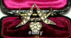 Antique Victorian Sterling Silver & Paste Swallows & Heart Brooch / Pin