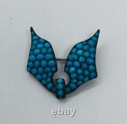 Antique Victorian Sterling Silver Pave Blue Turquoise Wings Pin