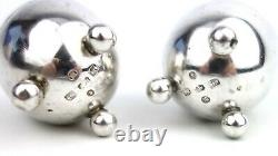 Antique Victorian Sterling Silver Pepper Pots Pair Egg Shaped Three Legged 1896