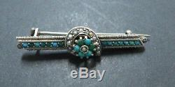 Antique Victorian Sterling Silver Persian Turquoise Horseshoe Bar Brooch Pin