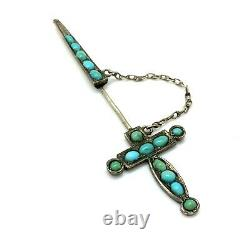 Antique Victorian Sterling Silver Persian Turquoise Sword Pin Brooch