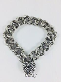 Antique Victorian Sterling Silver Puffy Heart Bracelet Repousse Padlock Charm