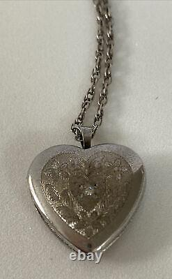 Antique Victorian Sterling Silver Puffy Heart with Diamond Locket Pendant Necklace