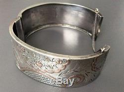 Antique Victorian Sterling Silver Rose Gold Aesthetic Flower Cuff Bracelet