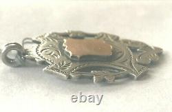 Antique Victorian Sterling Silver Rose Gold Two Side Watch Fob Awards Medal 1898