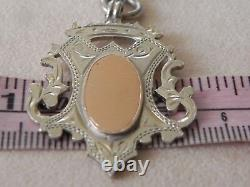 Antique Victorian Sterling Silver Rose Gold Watch Fob Awards Medal 1898
