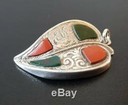 Antique Victorian Sterling Silver Scottish Agate Witches Heart Pendant