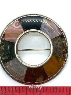 Antique Victorian Sterling Silver Scottish Tight Set Agate Ring Brooch Pin