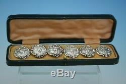 Antique Victorian Sterling Silver Set Of 6 Cased Buttons Birmingham 1900