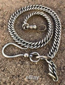 Antique Victorian Sterling Silver Snake Link Chain Fob Watch Necklace