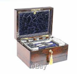Antique Victorian Sterling Silver Travelling Dressing Case 1861 19th Century