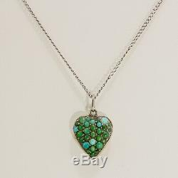 Antique Victorian Sterling Silver Turquoise Puffy Heart Charm & Chain