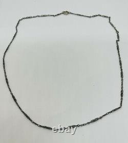 Antique Victorian Sterling Silver Unusual Chain Link Necklace 24