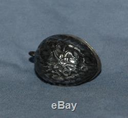 Antique Victorian Sterling Silver Walnut Sewing Pin Cushion Chatelaine