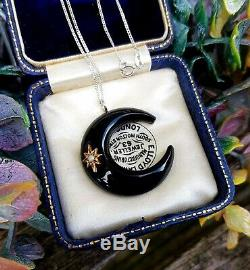 Antique Victorian Sterling Silver and Gold Black Jet Crescent Moon Star Pendant