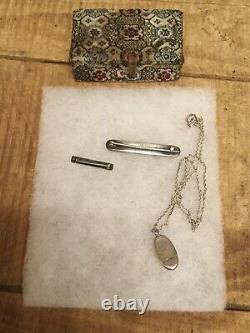 Antique Victorian Sterling Sliver Mother Of Pearl Necklace Brooch Jewelry Lot