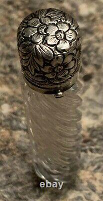 Antique Victorian Sterling Twisted Glass Perfume Scent Bottle