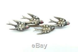 Antique Victorian Swallow Birds Brooch Fine Sterling Silver & Seed Pearls