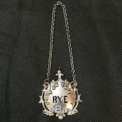 Antique Victorian Tiffany & Co Sterling Silver Scotch & Rye Decanter Labels Tags