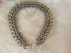 Antique Victorian Vintage Solid Sterling Silver Articulated Chain Bracelet
