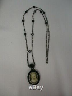 Antique Victorian Whitby Jet Mourning Sterling Bead Carved Locket Necklace