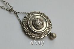 Antique Victorian aesthetic sterling silver large locket pendant hallmarked