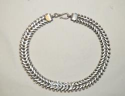 Antique Victorian c1870 Sterling Silver Collar Chain Necklace 16, Heavy 120g