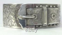 Antique Victorian hallmarked Sterling Silver Hinged Buckle Cuff Bangle 1886
