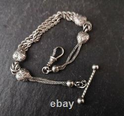 Antique Victorian sterling silver albertina, watch chain