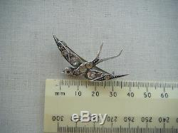 Antique Victorian sterling silver swallow sweetheart brooch pin paste stones
