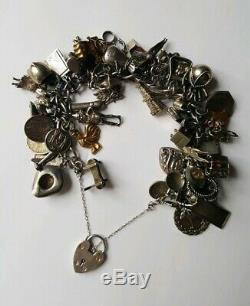 Antique Victorian to Mid-Century Sterling & 14k Gold LOADED 63 Charm Bracelet