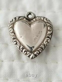 Antique Vintage Sterling Silver Puffy Heart Charm Turquoise Gems Repousse