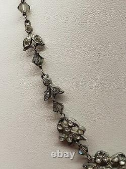 Antique Vintage Victorian Sterling Silver Rhinestone Crystal Glass Necklace